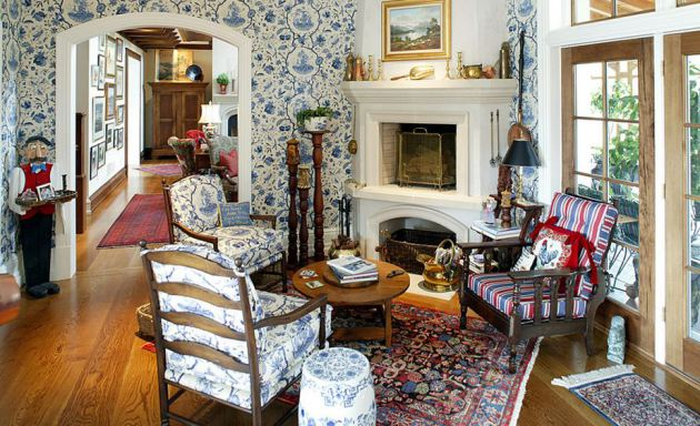 Фото: гостиная в стиле английского кантри