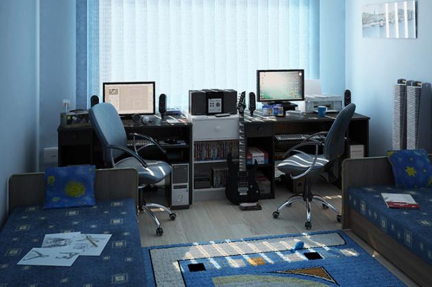 Фото: рабочие зоны в комнате для мальчиков