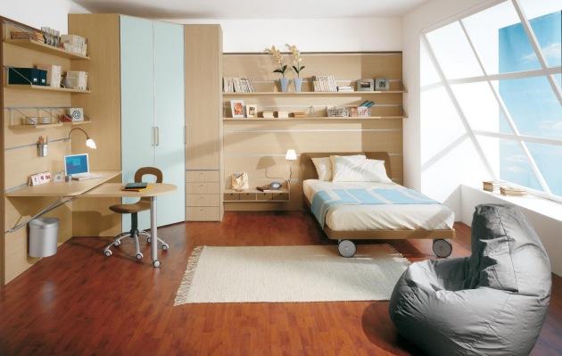 Фото: угловой шкаф в интерьере детской комнаты