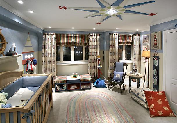 Фото: комната  в морском стиле для новорожденного