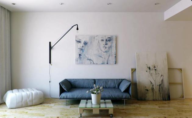 Фото: небольшой приземистый диван с металлическими ножками отлично впишется в минималистический интерьер