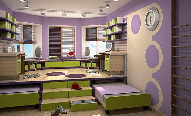 Фото: подиум с выдвижными кроватями станет идеальным решением для небольших комнат
