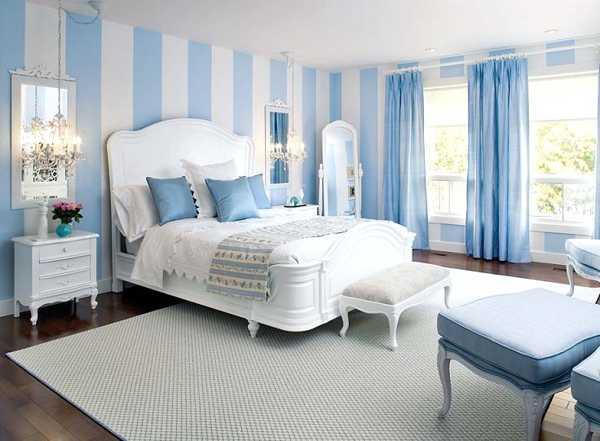 Фото: голубой цвет способствует расслаблению, засыпанию, поэтому лучше всего его выбрать для оформления спальни