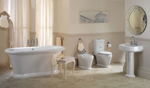 Фото: отделка пола в ванной стилизованной под старину напольной плиткой
