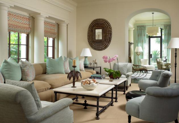 Фото: римские шторы в интерьере гостиной