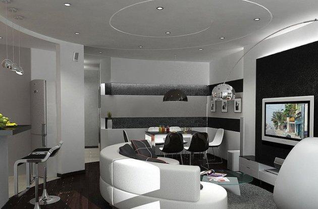 Фото: гостиная в стиле хай-тек