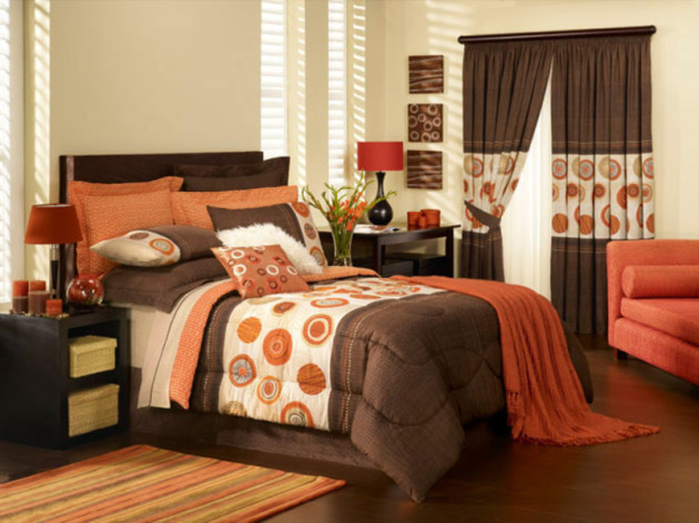 bedroom orange wall, bedroom, wall, colourful design