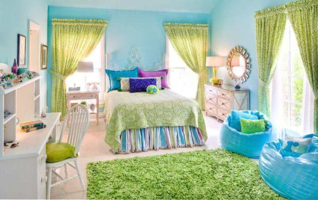 Фото: голубой в сочетании с зеленым помогут вам создать в интерьере природную атмосферу, которая наиболее хорошо подойдет для детских комнат