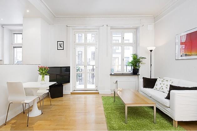 Фото: зеленый коврик, имитирующий траву, в интерьере гостиной