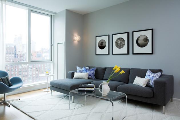 Фото: гостиная в голубовато-серых тонах