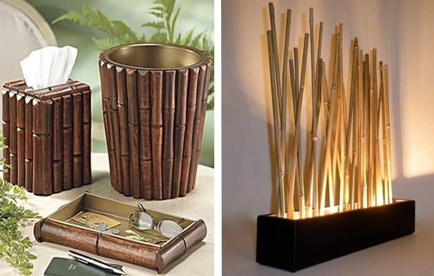 Фото: бамбуковые шкатулки и бамбуковая лампа