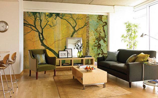 Фото: фотообои с изображением природы помогут создать яркий акцент в интерьере комнаты