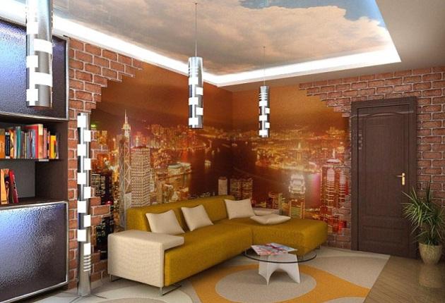 Фото: натяжной потолок, имитирующий небо, и фотообои в интерьере зала