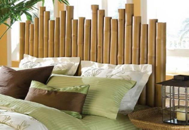 Фото: декорирование бамбуком изголовья кровати