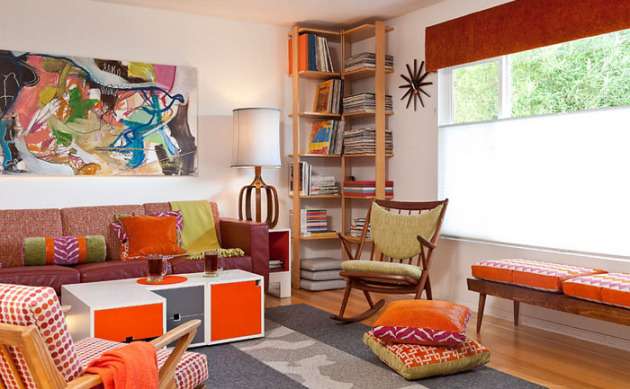 Фото: угловой стеллаж для наилучшим образом подойдет для небольших комнат