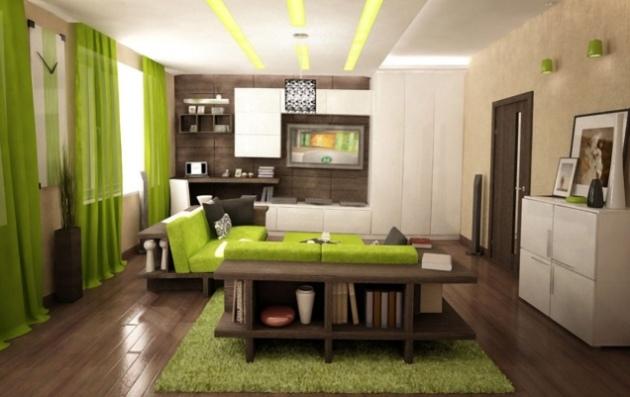 Фото: зеленый в сочетании с коричневым создадут в интерьере природную атмосферу