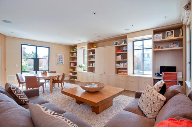 Фото: гостиная, совмещенная со столовой