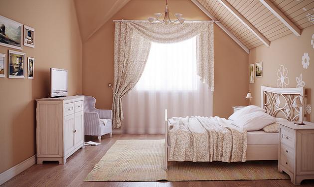 Фото: спальня в деревенском стиле на мансарде