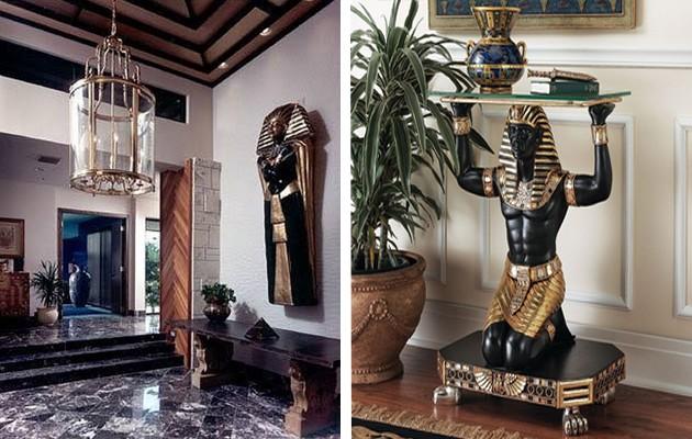 Фото: египетские скульптуры в интерьере прихожей