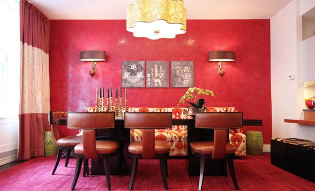 Фото: столовая малинового цвета