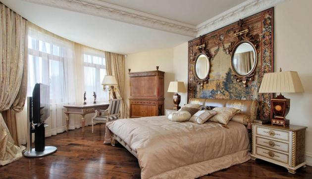 Фото: зонирование спальни многоуровневым потолком