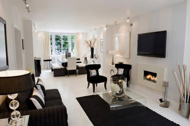Фото: сочетание белого и черного сделает комнату элегантной