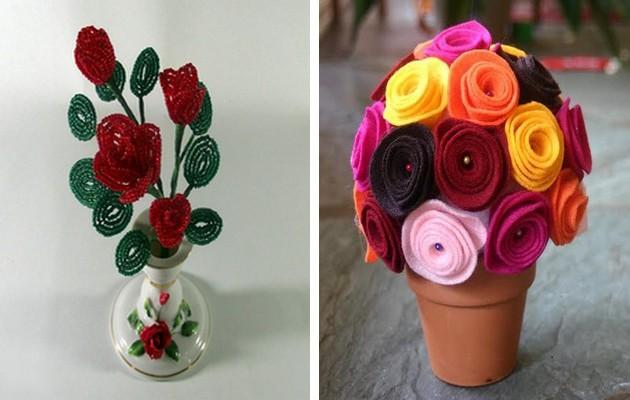 Фото: цветы из бисера и из ткани