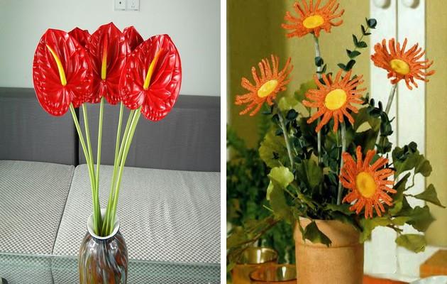 Фото: цветы из пластика и из ниток