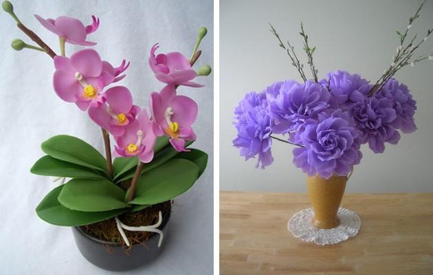 Фото: цветы из полимерной глины и из бумаги