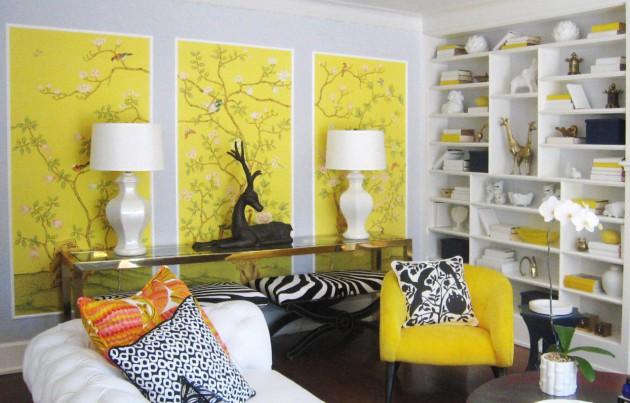 Фото: декорирование стены желтой модульной картиной