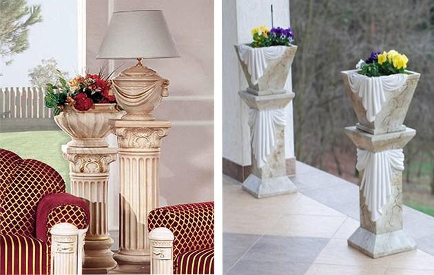 Фото: использование миниатюрных колонн в качестве подставок под вазы с цветами