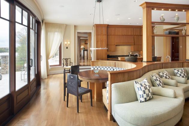 Фото: разделение кухни и гостиной деревянной перегородкой