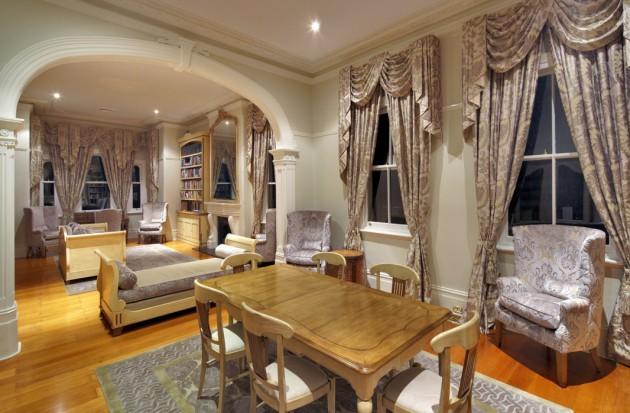 Фото: оформление окон в интерьере столовой французского стиля