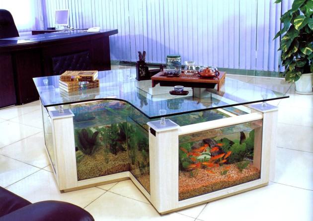 Фото: журнальный столик-аквариум