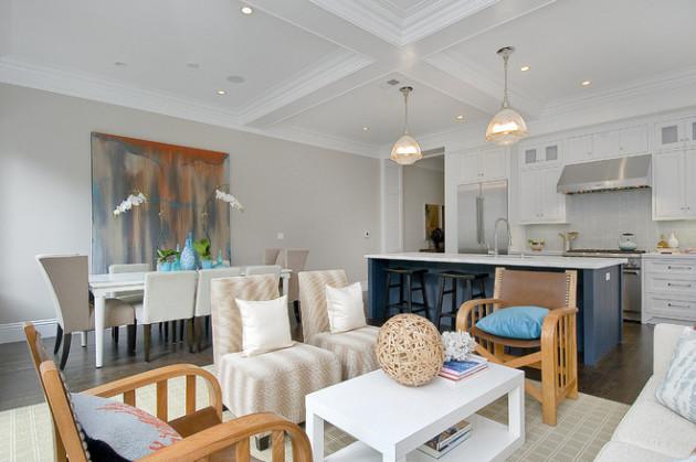 Фото: картина в интерьере помещения, сочетающем кухню, столовую и гостиную
