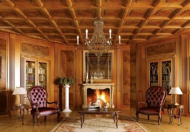 Фото: кессонный потолок, выполненный из натурального дерева