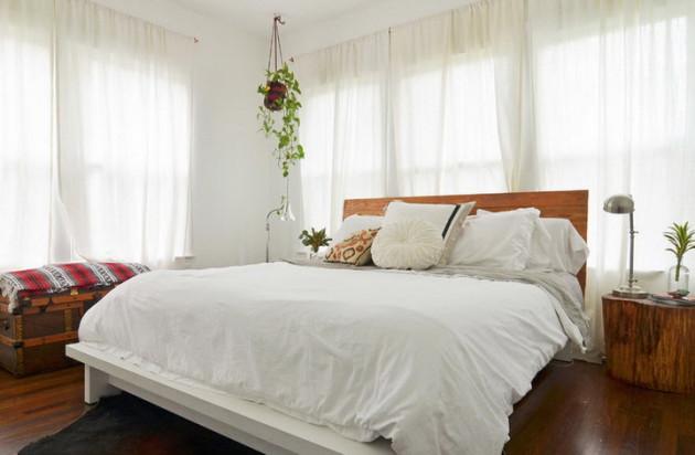 Фото: цветы в кашпо в интерьере спальни