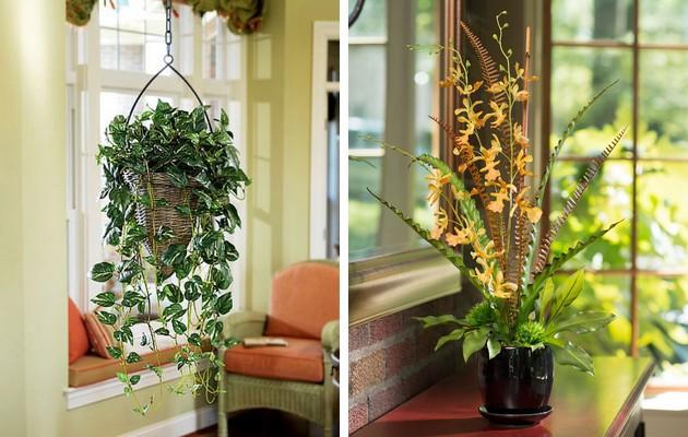 Фото: искусственные цветы в интерьерах прихожих