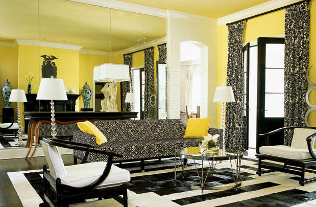 Фото: сочетание желтого с черными элементами декора сделает интерьер смелее и активнее
