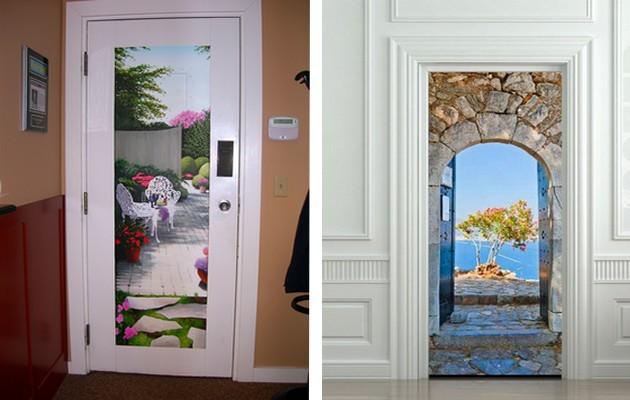 Фото: украшение дверей фотообоями