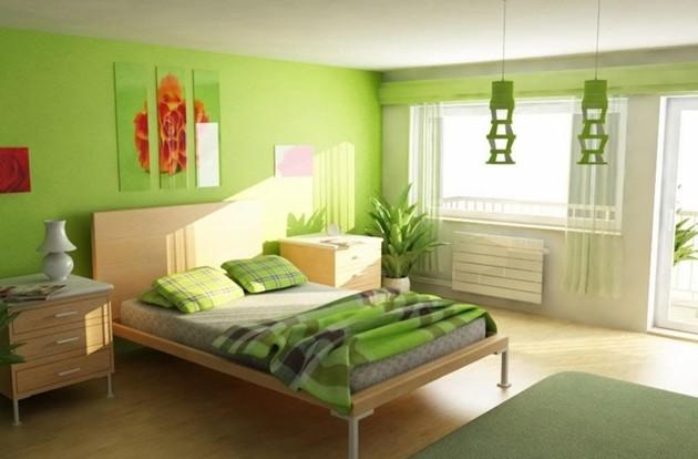 Фото: сочетание светлого пола с зелеными стенами добавит в атмосферу интерьера свежести и спокойствия
