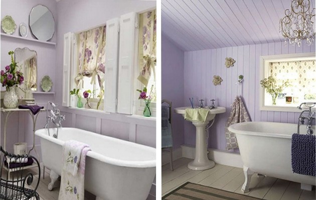 Фото: интерьеры ванных комнат в лавандовых тонах