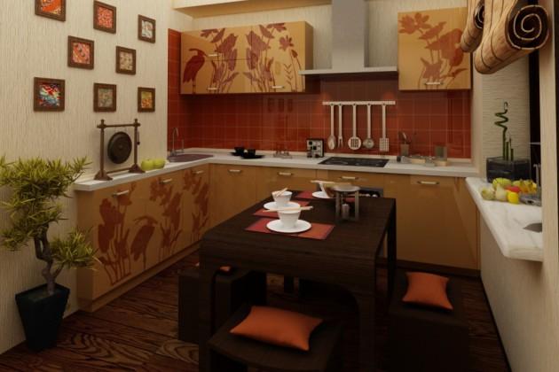 Фото: декорирование кухонного гарнитура росписью