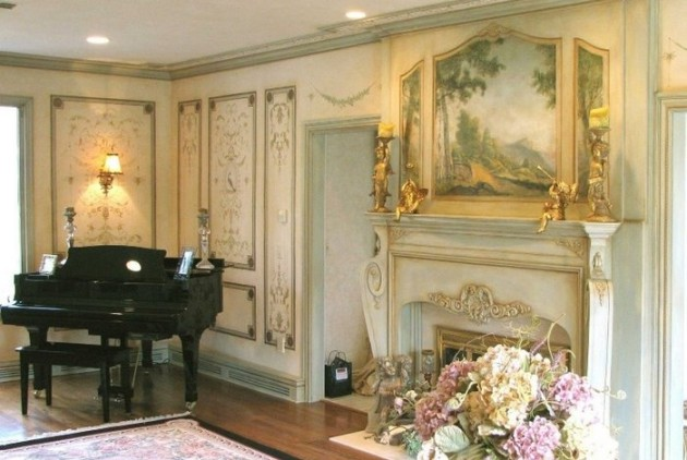 Фото: роспись стен в интерьере гостиной