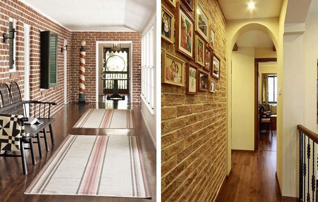 Фото: отделка стен обоями, имитирующими кирпичную кладку