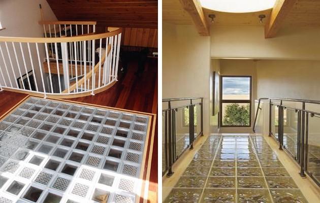 Фото: пол из стеклоблоков идеально будет смотреться на вторых этажах и мансардах
