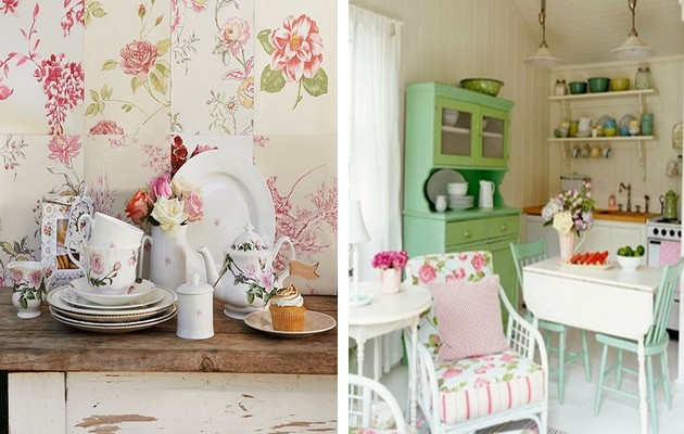 Фото: варианты отделки стен в интерьере кухни стиля шебби шик