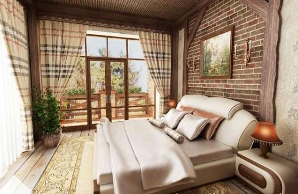 Фото: обои, имитирующие кирпичную кладку, в интерьере спальни загородного дома