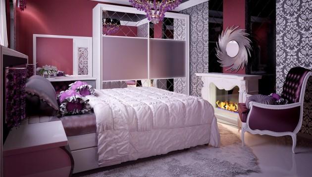 Фото: имитация камина в интерьере спальни