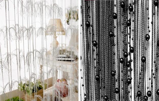 Фото: перьевая штора и штора с жемчугом